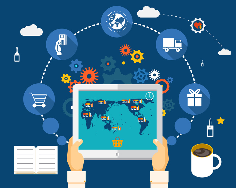 Shopping on world map on screen of tablet. World Wide Shopping Concept